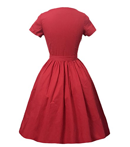 Dissa M124418D Robe de bal Vintage pin-up 50's Rockabilly robe de soirée cocktail,S-XXXXL Rouge
