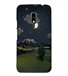 For Motorola Moto G4 :: Moto G (4th Gen) vector, illustartor, place, mountain, tree, moon Designer Printed High Quality Smooth Matte Protective Mobile Case Back Pouch Cover by APEX