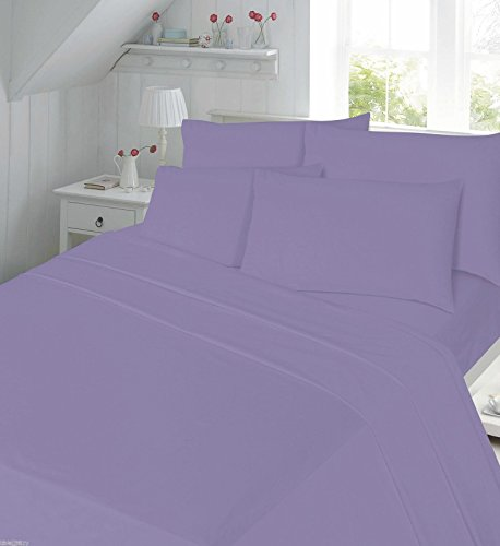Flannelette Sheet Set King Size With Pillowcases Bedding Set 100% Cotton Includes 1 Fitted Sheet + 1 Flat Sheet + 2 Pillowcase, Lilac King