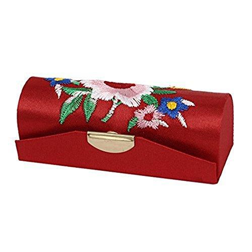 Chinesische Gestickte Tasche (1X Toruiwa Schmuck Beutel Münzen Tasche Chinesische Seide Brokat mit Knöpfe Quaste gestickte Brieftasche 8.5*3*3cm Zufällige Farbe)