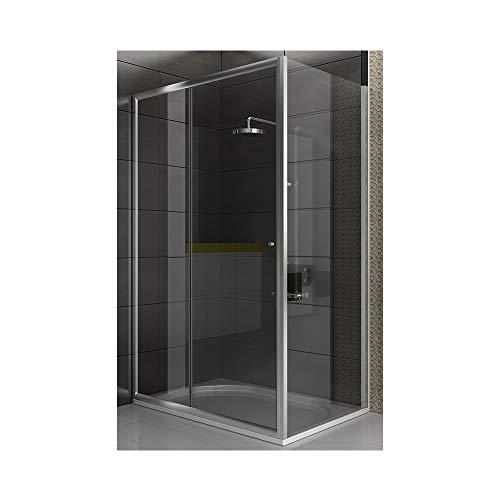 bad1a Duschabtrennung aus Glas Eckdesign Duschkabine 120 x 80 x 190 cm Öffnung rechts ode