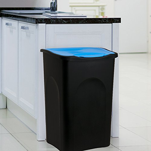 Stefanplast Poubelle tri sélectif Bleu/Noir 50litres