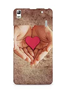 Amez designer printed 3d premium high quality back case cover for Lenovo A7000 (Pink Heart In Hands)