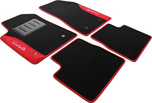 ilTappetoAuto COLOR0000017R, tappetini auto moquette antiscivolo, rosso