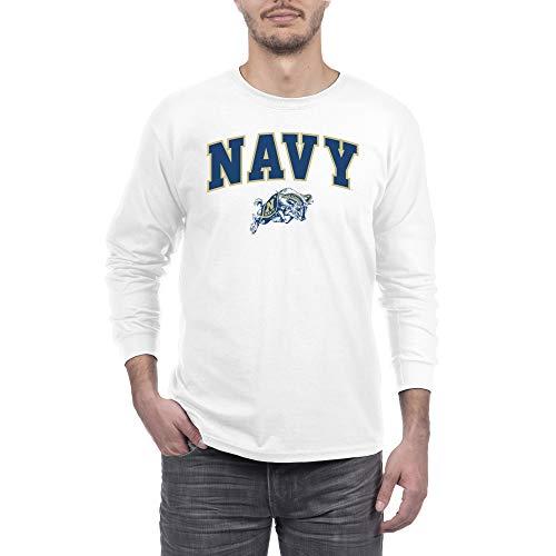 eLITe Fan Navy Midshipmen Men's Long Sleeve Arch Tee, White, Large -