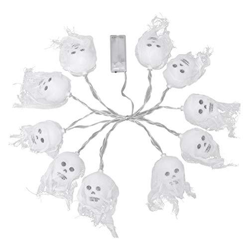 Amosfun Halloween-Schnur-Licht-Schädel-Dekoration, die LED-dekorative Lampen-Festival-Partei-Versorgungsmaterialien mit dem Ineinander greifen hängt (bunt, Keine Batterie) 2.5M