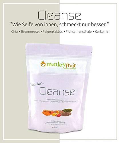 Mathilda´s Cleanse Pulver mit Chia, Brennnessel, Feigenkaktus, Flohsamenschalen & Kurkuma von MonkeyFruit, 200g Pulver, Smoothie in a tablet -