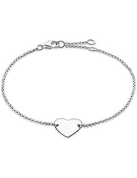 Thomas Sabo Damen-Armband Glam & Soul Herz 925 Sterling Silber Länge von 16.5 bis 19.5 cm A1392-001-12-L19,5v