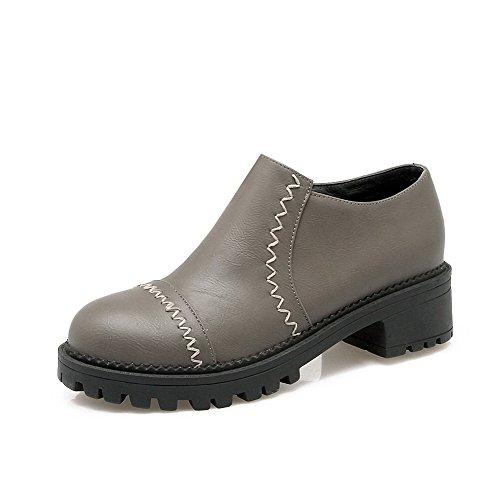 VogueZone009 Femme Rond Zip Pu Cuir Couleur Unie à Talon Correct Chaussures Légeres Gris