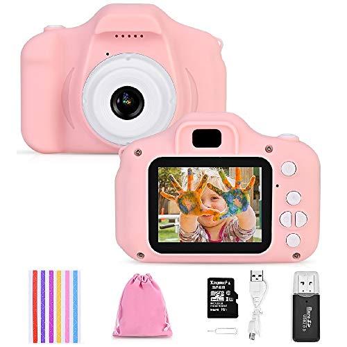 Faburo Kinderkamera Digital Kamera Mini Kamera 2.0 Zoll HD 1080P Bildschirm Kamera Video Spiel Multifunktion mit 32GB SD Karte USB Ladekabel Rosa