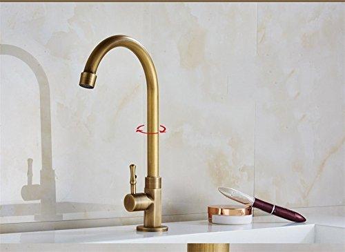 Qinlei Badezimmer-Accessoires QINLEI europäische bronze kupfer gelbe kalte küche bad wasserhahn antiken wasserhahn drehen, 360 grad/Single kalt