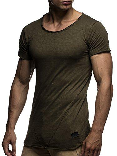 LEIF NELSON Herren T-Shirt Top Sweatshirt Sweater Rundhals Kurzarm-shirt Basic Crew Neck Vintage LN6281 S-XXL; GrÓ‡e M, Khaki (Shirt Khaki)