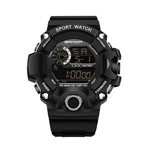 SNHWARE Student Elektronische Uhr Für Outdoor Sport Fashion Multi Functional Lauf Climbing Wasserdichte Uhr,Black