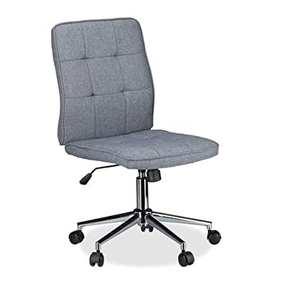Relaxdays Office Desk Chair, Height-Adjustable Swivel Chair, Comfortable, 120 kg Capacity, HWD: 104 x 60 x 60 cm, Gray