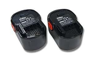 2 Batteries vhbw Ni-CD 1700mAh (14.4V) pour outils Würth Master SD 14.4 comme AEG 4935413106, 4935416790, B1414G, B1415R.