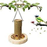 Mangiatoia per Uccelli, Tubo di Legno Naturale Che Appende Gli Uccelli Alimentare I Contenitori per Alimenti Conservare Gli Alimentatori A Prova di Masticare