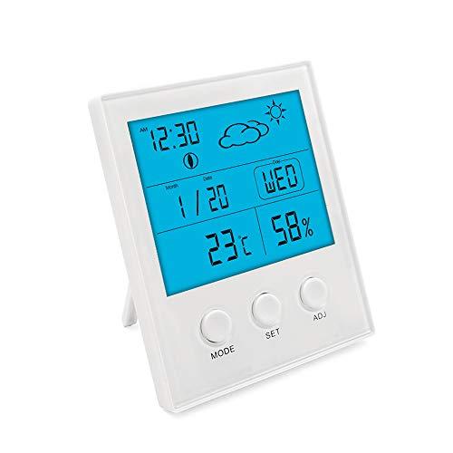 Termo-igrometro digitale da interno con ampio schermo LCD, termometro di monitoraggio dell\'aria ambiente con record MIN/MAX, previsioni meteo, funzione C / ° F per sveglia e calendario sveglia