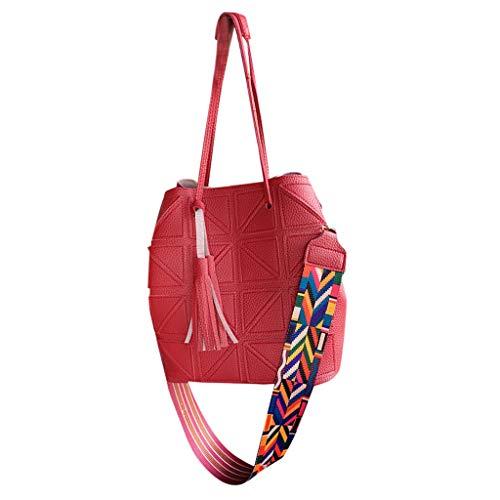Vovotrade 2 Pezzi Borsa a Mano + Tracolla per Le Donne di Viaggio di Grandi quantità Signore in Pelle di Colore Solido Nappa Borsa a Tracolla Messenger Bag + Portafoglio