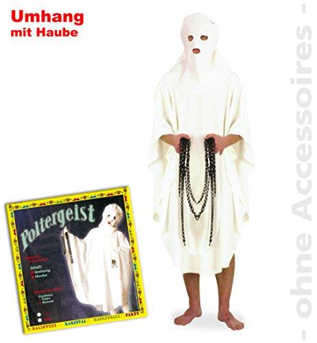 Poltergeist Umhang + Haube Halloween Kostüm Gespenst 1510 PB für Erwachsene L