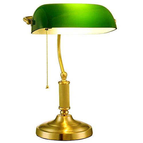 DHG American Schreibtischlampe, Schlafzimmer Nachttischlampe, Studie Kupfer Tischlampe, Antike Retro-Lampe,Kupfer,Taste (Glas Wandlampen Mundgeblasenes)