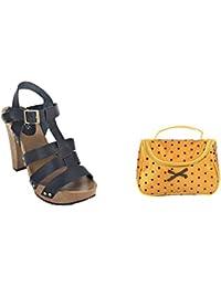 Estatos Pattern Leather Open Toe Buckle Closure Block Wooden Heel Black Gladiator Sandals With Yellow Polka Dots...