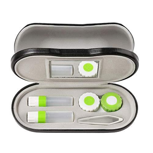 2 in 1 Brillenetui tragbar, Schutzhülle zu Kontaktlinsen Travel Kontaktlinsenetui Mini Box Container (Grün)