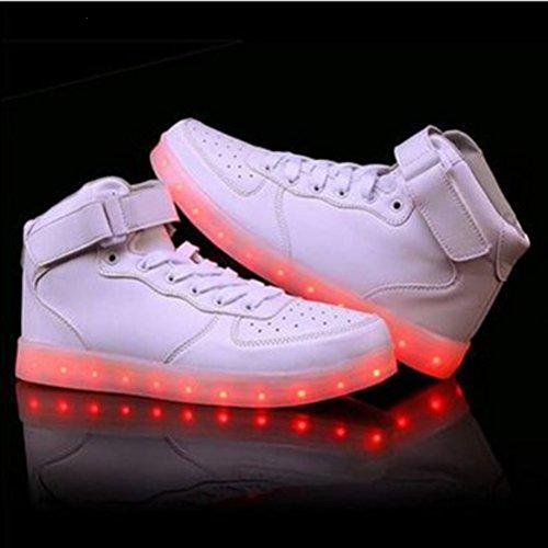 (Present:kleines Handtuch)JUNGLEST® 7 Farbe Lackleder High Top USB Aufladen LED Leuchtend Sport Schuhe Sportschuhe Sneaker Turnschuhe für Unisex-Erwachsene High Top Weiß-1