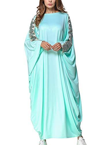 SPDYCESS Frauen Kaftan Muslimische Abaya Elegantes Maxi Kleid - Flügelhülse Dubai Islamische Lange Kleider Arabisch Naher Osten Kleidung Jilbab Robe Damen -