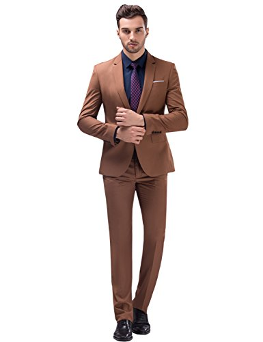 Tsui-Fashion Men's New Work Slim Fit One Button Suits XZ00270BR Brown
