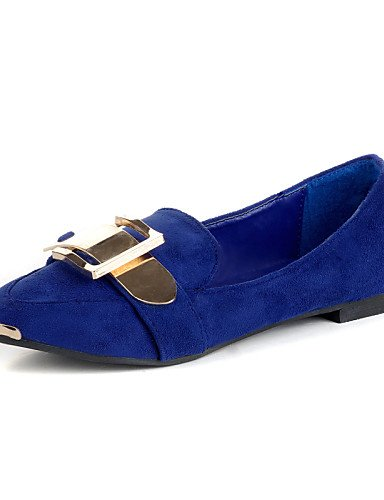 ZQ gyht Scarpe Donna - Mocassini - Casual - A punta - Piatto - Finta pelle - Nero / Blu , blue-us8 / eu39 / uk6 / cn39 , blue-us8 / eu39 / uk6 / cn39 blue-us6 / eu36 / uk4 / cn36