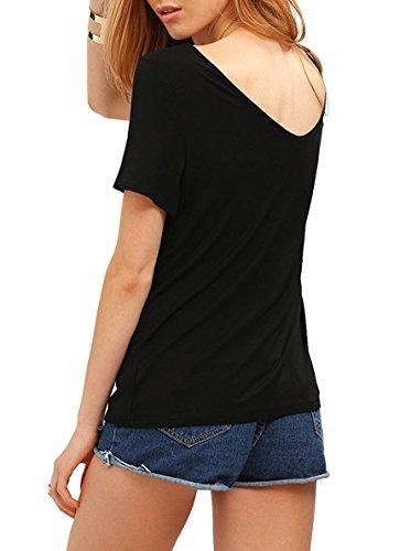 Match Damen Sommer Kurzarm T-Shirt V-Ausschnitt Tops 137 Schwarz ...