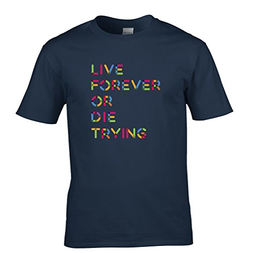 Live Forever or Die Optimist YOLO YALA Der Versuch, Herren T-Shirt Navy Blue