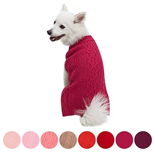 Blueberry Pet Meisterhaftes Klassisches Zopfmuster Cerise Pink Hundepulli, Rückenlänge 41cm, Einzelpackung Hundebekleidung