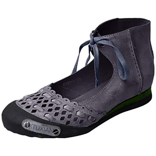 Retro Sandals für Frauen/Dorical Damen Round Toe Casual Knöchelriemen Hallow Sommer Classic Sandalen Schuhe Hausschuhe Mode Flache Schuhe Sommerschuhe Größe 35-43(Grau,40 EU)