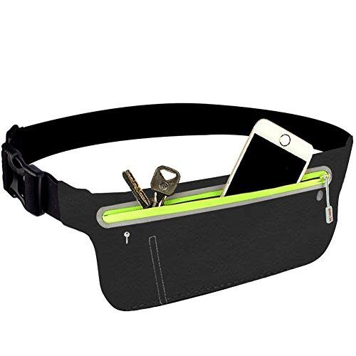 Riñonera Fanny Pack, resistente resistente agua cinturón elástico, ajuste iPhone X 8 Plus, Galaxy Note 8 S8 S9 Plus Google Moto, Idea para ciclismo, senderismo, senderismo, fitness, deportes(Negro)