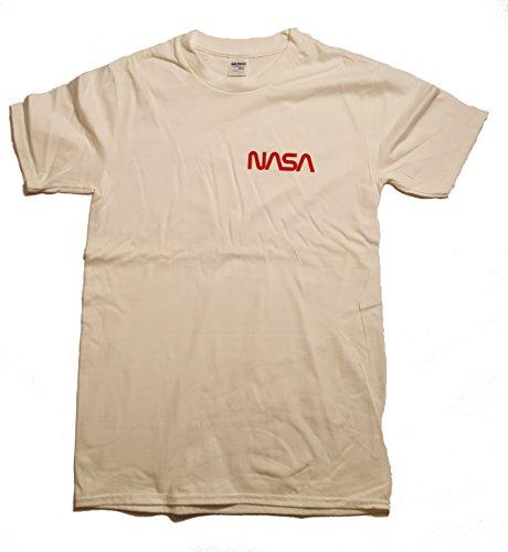 Abzeichen NASA Worm Logo Premium Herren T-Shirt (Vinyl-Druck) Weiß