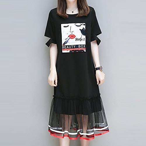 QUNLIANYI Abendkleid Tüll Lang L-5Xl Plus Size Dress Mesh Lace Patchwork Little Black Dresses Women Short Sleeve Large Size Casual Oversize Tuch XXXL