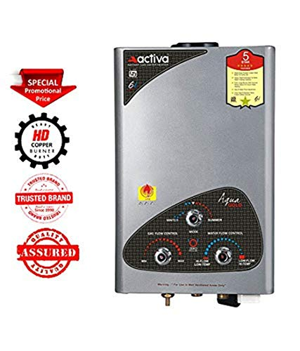 ACTIVA LPG Gas Instant Water Heater with 100% Copper Tank Anti Rust Coating Geyser ISI Approved Saves Your Geyser from Corrosion by Water_Aqua Gold (Silver Metallic)
