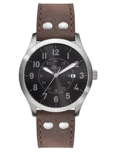 s.Oliver SO-2975-LQ - Reloj para hombres, correa de cuero color marrón