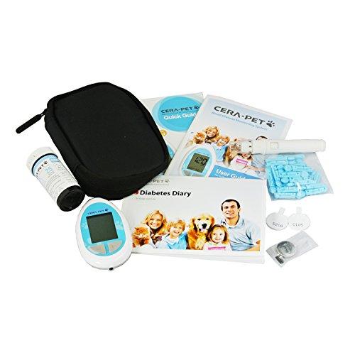 Medidor de glucosa en sangre especialmente calibrado para su uso en perros y gatos - Glucometro veterinario para mascotas - Producto e instrucciones en inglés
