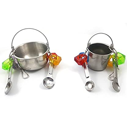 KaariFirefly Birds Parrots Stand Hanging Stainless Steel Food Cup Holder Swing with 2 Spoons - Random Color L 7