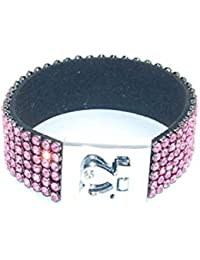 Pink Cuff Bracelet With Rhinestones by The Olivia Collection