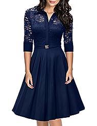 Miusol® Damen Spitzen 3/4 Ärmel Elegant Revers Cocktailkleid 1950er Jahre Faltenrock Party Kleid Schwarz EU 36-48