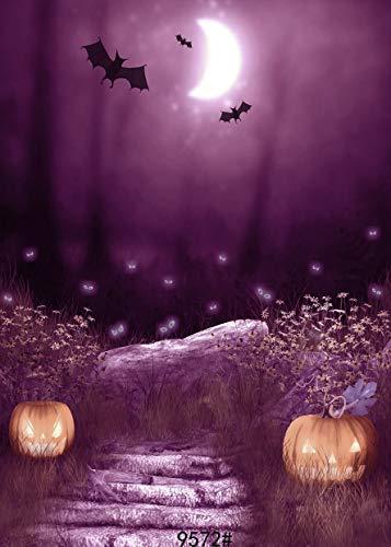 GzHQ JLT-9572 Fotohintergrund, Halloween-Nacht unter dem lila Licht Kürbisse und schwarzen Fledermäuse