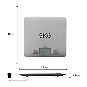 Duronic Super Slim Sleek Design Digital Display 5KG Electronic Kitchen Scales - with Glossy Brushed Chrome Stainless Steel Surface and 2 Years FREE Warranty from Duronic