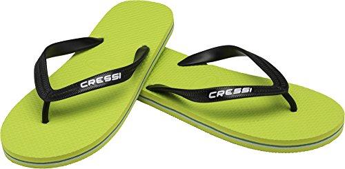 Cressi beach, infradito per piscina unisex – adulto, lime/nero, 43/44