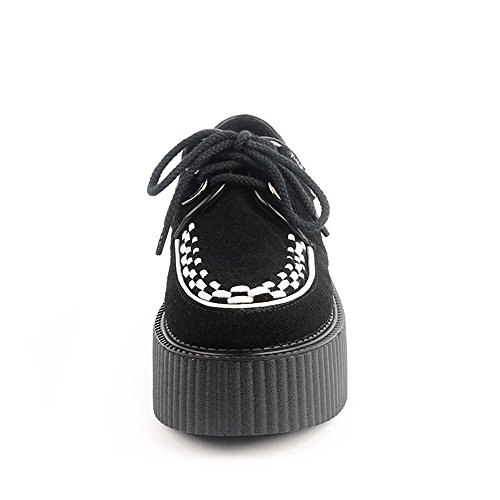 RoseG Femmes Cuir Lacets Plate Forme Punk Creepers Blanc