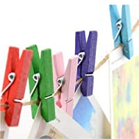 DIYEUWORLDL 50 Pcs/lot Mini Wooden Craft Pegs Clothes Paper Photo Hanging Spring Clips Clothespins For Message Cards 30mm Random Color