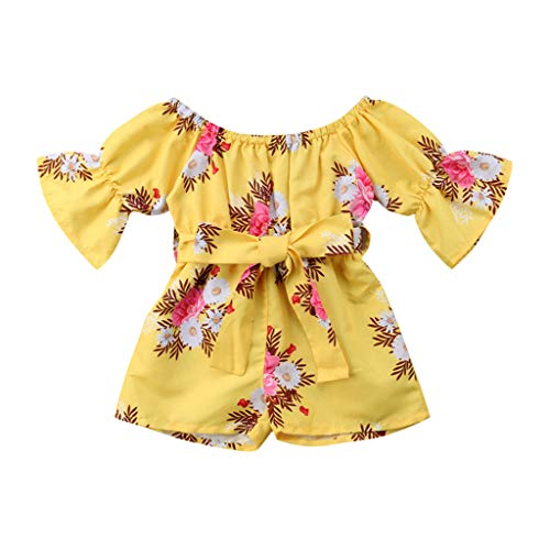 Allegorly Baby Mädchen Strampler Glockenärmel Ethnischer Blumendruck Spielanzug Overalls Outfits Säuglings Kleinkind Kleidung Mit Bow Gürtel
