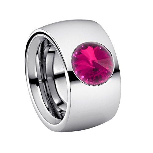 Heideman Ring Damen Coma 14 aus Edelstahl Silber farbend poliert Damenring für Frauen mit Swarovski Stein Kristall Fuchsia pink im Fantasie Edelsteinschliff 10mm